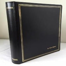 Ring Binder | Black Leather | Gold Tooling | Funeral Guest Book | Calf Leather Condolence Book | Funeral Registry | Sympathy Book | Made in England | Charing Cross-Guest Book-Sterling-and-Burke