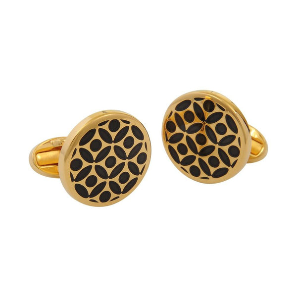 Halcyon Days Rose Cufflinks in Black and Gold-Enamel Cufflinks-Sterling-and-Burke