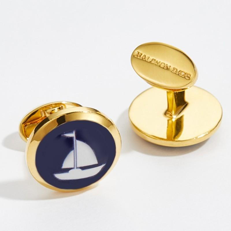 Halcyon Days Round Sailing Boat Cufflinks in Navy and Gold-Enamel Cufflinks-Sterling-and-Burke