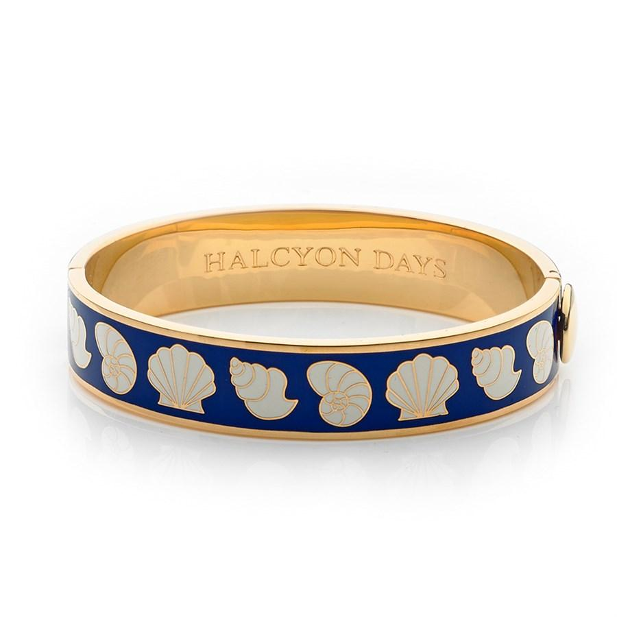 Halcyon Days 13mm Shells Hinged Enamel Bangle in Deep Cobalt, Cream, and Gold-Jewelry-Sterling-and-Burke