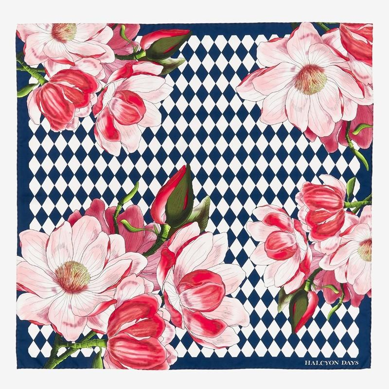 Halcyon Days Parterre Blossom Silk Scarf in Navy, 36 by 36 Inches-Ladies Silk Scarf-Sterling-and-Burke
