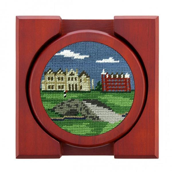 Needlepoint Collection | St Andrews Golf Course Scene Needlepoint Coaster Set | Smathers and Branson-Coasters-Sterling-and-Burke