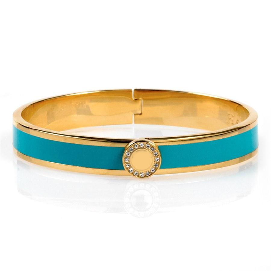 Halcyon Days 1cm Sparkle Button Hinged Enamel Bangle in Turquoise and Gold-Jewelry-Sterling-and-Burke