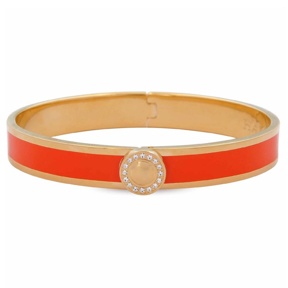 Halcyon Days 1cm Sparkle Button Hinged Enamel Bangle in Orange and Gold-Jewelry-Sterling-and-Burke