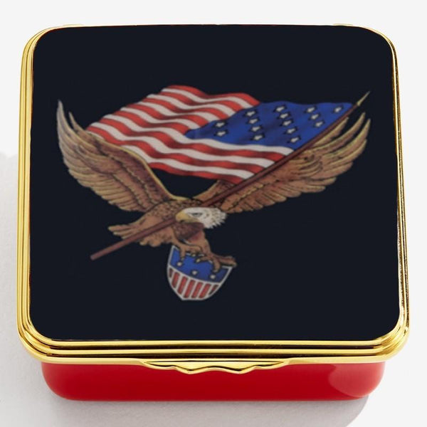 Halcyon Days Star Spangled Banner Enamel Box, Small-Enamel Box-Sterling-and-Burke