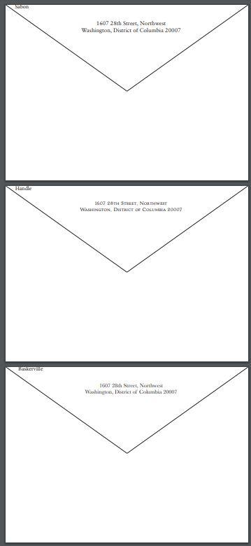 Custom C B Return Address Font Samples-Custom Stationery-Sterling-and-Burke