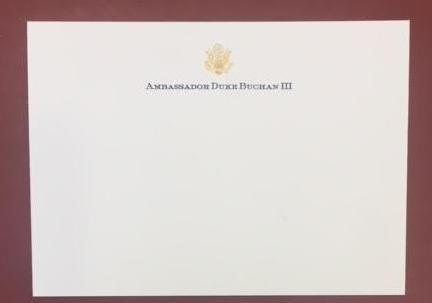 Bespoke Stationery | Medium Correspondence Card and Envelope Set | Gold Logo Seal and Text on Correspondence Card and Blank Envelope | Hand Engraved | Sterling and Burke Ltd-Custom Stationery-Sterling-and-Burke