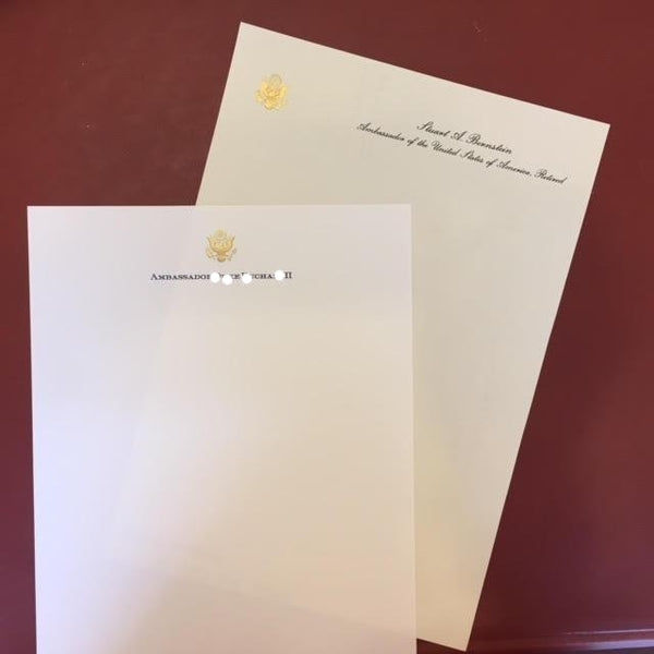 ****Bespoke Stationery | Correspondence Card and Envelope Set | Gold Eagle Seal and Text | Hand Engraved | Paper made in USA | Sterling and Burke Ltd-Custom Stationery-Sterling-and-Burke