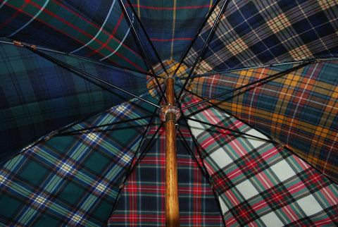 Maple Gent's Umbrella | A Fun Tartan Umbrella | Solid Shaft Maple | Fun Tartan Canopy | Gold Collar | Finest Quality | Made in England | Burke Umbrellas