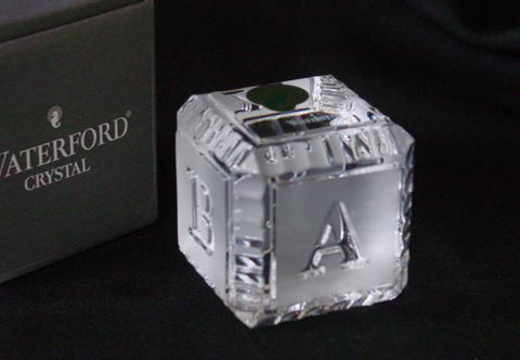 Waterford Crystal Baby Block | ABCDE | Crystal Block | Waterford-Crystal-Sterling-and-Burke