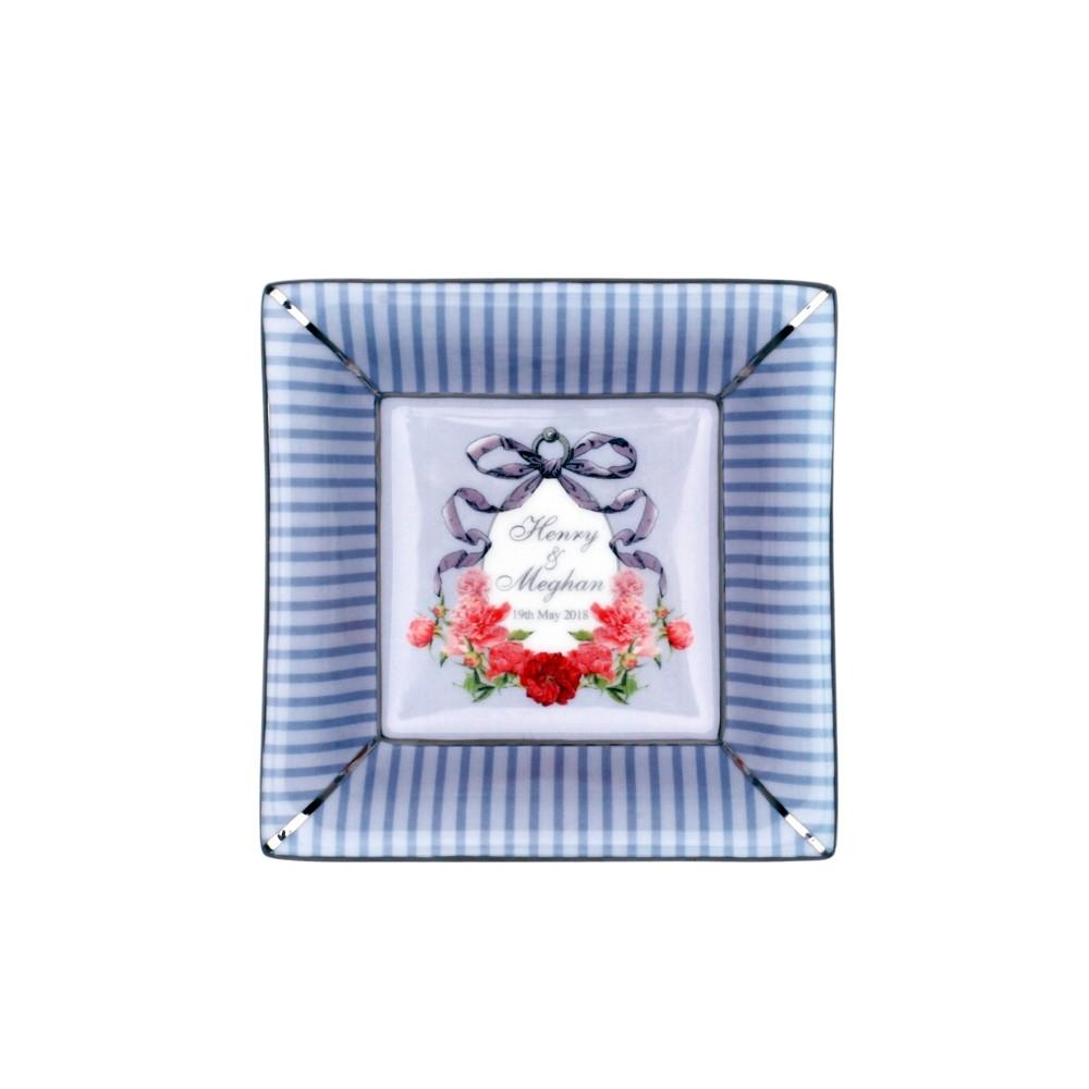 Halcyon Days Wedding Ribbons Henry & Meghan Trinket Tray, Square-Bone China-Sterling-and-Burke