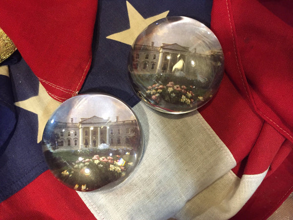 White House in Spring ~ Glass Dome Paperweight ~ Leather Base-Paperweight-Sterling-and-Burke