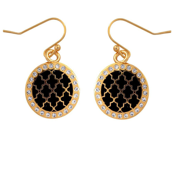 Halcyon Days Agama Sparkle Enamel Earrings in Black and Gold-Jewelry-Sterling-and-Burke