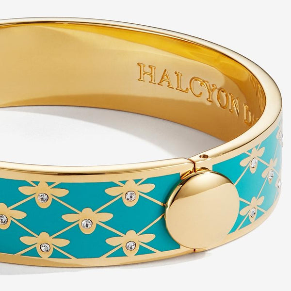 Halcyon Days Jewelry | 13mm Bee Sparkle Trellis Hinged Enamel Bangle in Turquoise and Gold