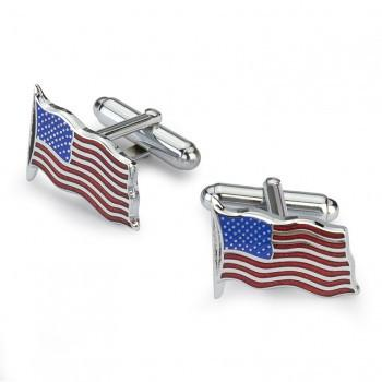 Waving American Flag Cufflinks | Enameled Cuff Links | US Flag | Palladium Silver-Cufflinks-Sterling-and-Burke