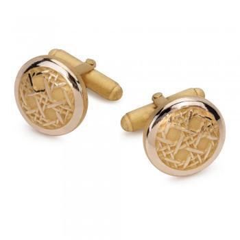 Caneweave Gilt T-Bar Cufflinks-Cufflinks-Sterling-and-Burke