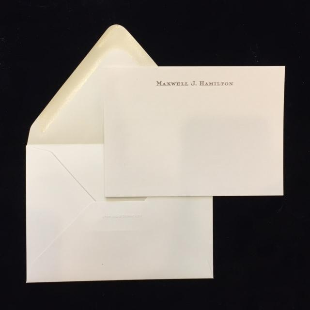 Bespoke Stationery | UK Correspondence Card with Envelope | 100 Sets | Hand Engraved | Single Line of Text on Card and Address on Envelope Flap | Sterling & Burke-Custom Stationery-Sterling-and-Burke