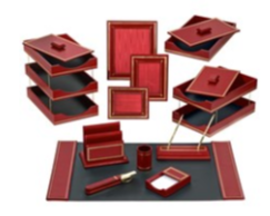 Republican Red Leather Desk Accessories | Hand Made in NYC | Luxury Leather Desk Accessories with Gold Tooling