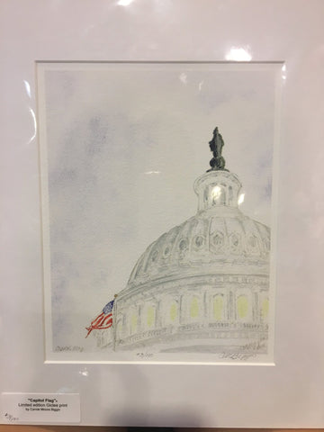 Capitol Flag | Print | Carole Moore Biggio | 7 by 9 Inches-Giclee Print-Sterling-and-Burke