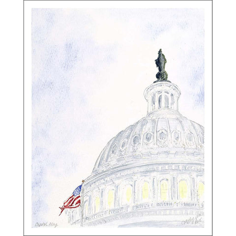 "Capitol Flag II | Giclee Print with Mat by Carole Moore Biggio | 10"" x 8""-Giclee Print-Sterling-and-Burke"