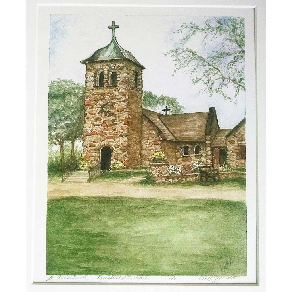 "St. Ann's Church, Kennebunkport, Maine | Watercolor Painting | Carole Moore Biggio | 11"" x 14""-Original Watercolor-Sterling-and-Burke"