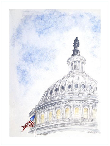 "Capitol Flag II | 140# Print Card by Carole Moore Biggio | 7"" x 5""-Greeting Cards-Sterling-and-Burke"
