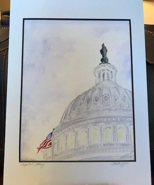 "Art | Capitol Flag | Signed Print on Canvas with Mat by Carole Moore Biggio | 12"" x 9""-Giclee Print-Sterling-and-Burke"