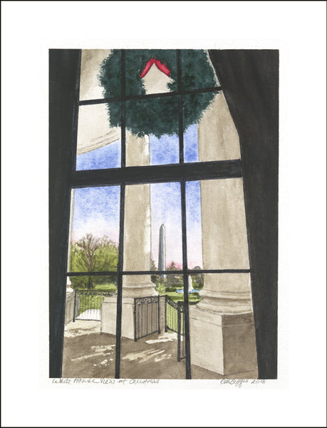 "White House Christmas Art | White House View at Christmas | Print Card by Carole Moore Biggio | 5"" x 7"""