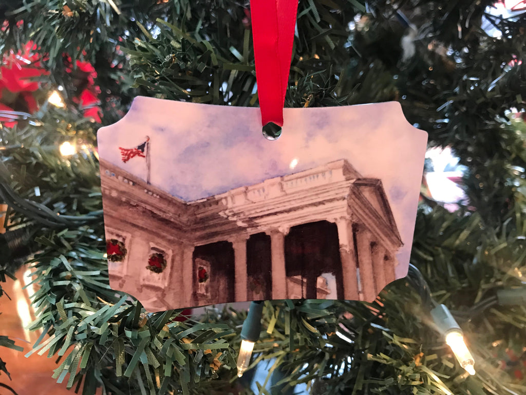 "White House Art | White House - December Morning | Ornament by Carole Moore Biggio | 3"" x 4"""