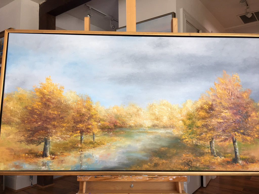 "Art | Autumn Romance | Original Oil Painting by Claire Howard | 24"" x 48""-Oil Painting-Sterling-and-Burke"