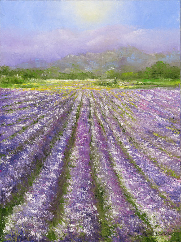 "Art | Lavender Fields of Provence | Original Oil Painting by Claire Howard | 24"" x 18""-Oil Painting-Sterling-and-Burke"