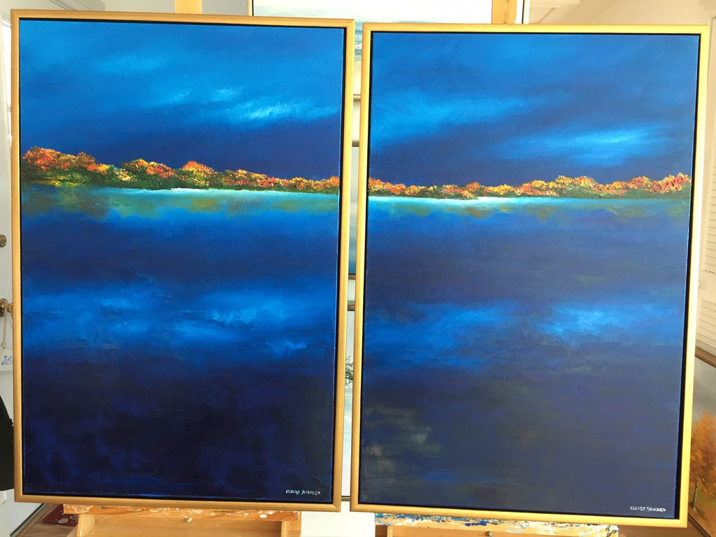 "Art | Midnight Lake I & II | Original Oil Painting by Claire Howard | 36"" x 24""-Oil Painting-Sterling-and-Burke"