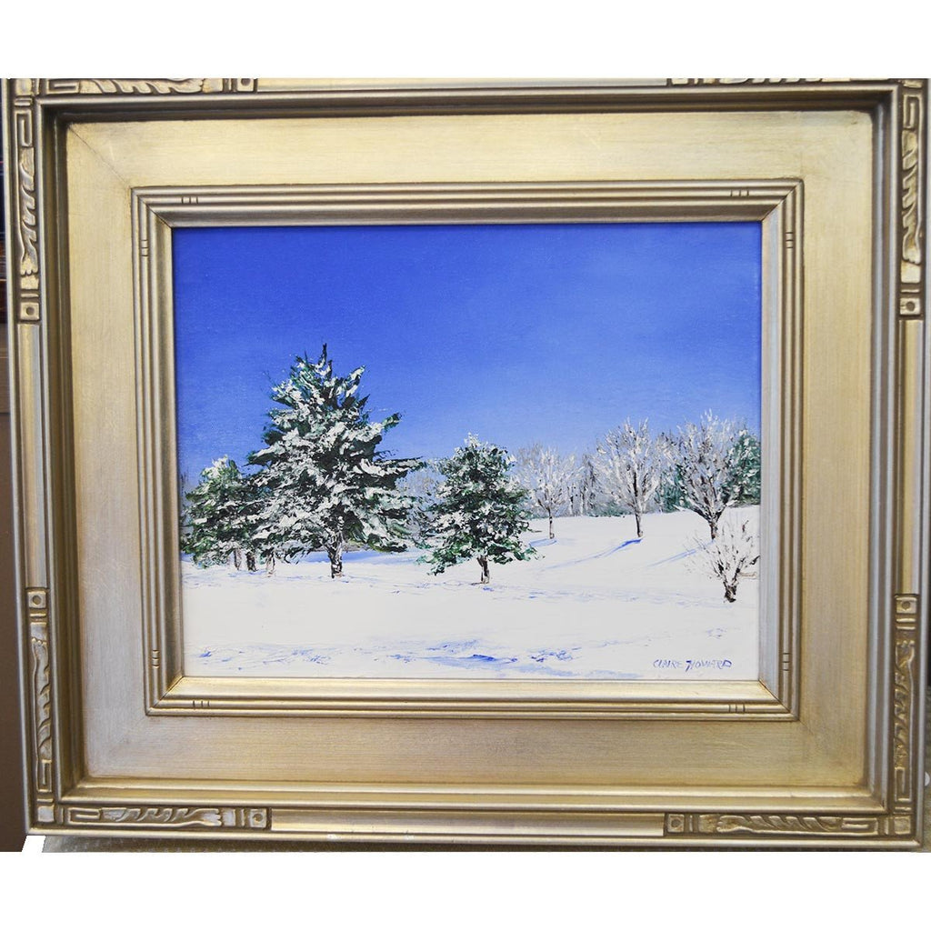 "Art | Snow Covered Landscape | Original Oil Painting by Claire Howard | 11"" x 14""-Oil Painting-Sterling-and-Burke"