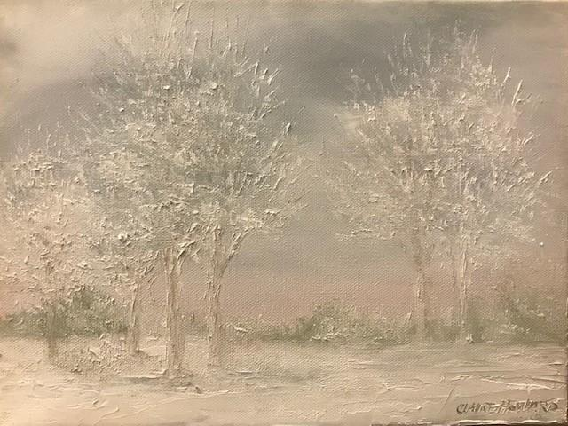 "Art | Snow Morning | Original Oil with a Gallery Wrap Frame by Claire Howard | 9"" x 12""-Oil Painting-Sterling-and-Burke"