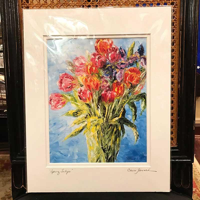 "Art | Spring Tulips | Giclee with Mat by Claire Howard | 10"" x 8""-Giclee Print-Sterling-and-Burke"