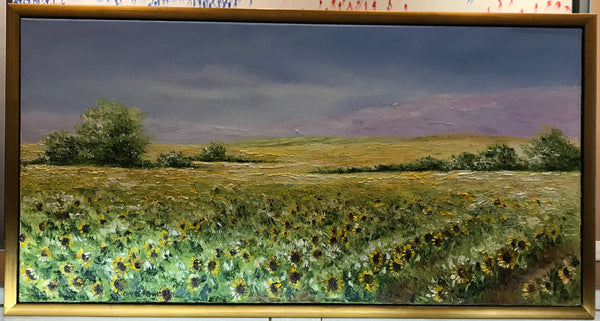 Art | Sun Flower Oil Painting | Walking Through Sunshine With You I | Original Oil Painting | Custom Frame | 31.5 by 16.5 Inches-Oil Painting-Sterling-and-Burke