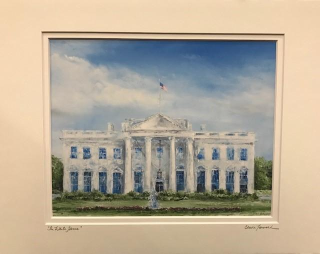 "Art | The White House | Giclee with Hand Signed Mat by Claire Howard | 8"" x 10""-Oil Painting-Sterling-and-Burke"