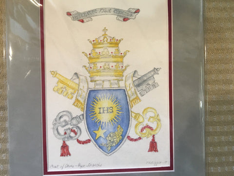 "Coat of Arms - Pope Francis I by Carole Moore Biggio | 8"" x 10""-Original Watercolor-Sterling-and-Burke"