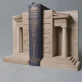 Doric and Iconic Order Bookends Sculpture Set | Custom Doric and Iconic Order Plaster Model | Extraordinary Quality and Detail | Made in England | Timothy Richards-Desk Accessory-Sterling-and-Burke