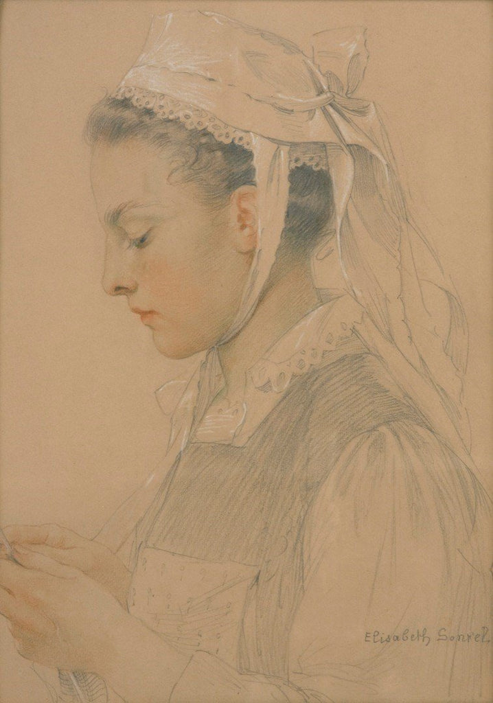 "Antique Pastel on Paper | Portrait of a Breton Girl by Elisabeth Sonrel | 16 3/8"" x 12""-Pastel-Sterling-and-Burke"