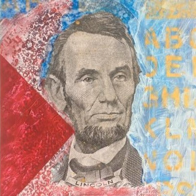 "Art | A B C Lincoln | Acrylic Mixed on Paper by Fabiano Amin | 14"" x 11"""