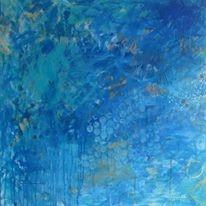 "Art | Agua e Sol | Acrylic Mixed Media on Gallery Canvas by Fabiano Amin | 36"" x 36""-Acrylic Painting-Sterling-and-Burke"