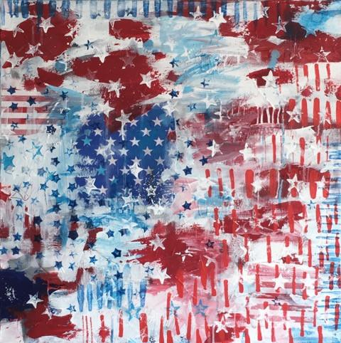 "Art | Blue Stars, White Stars | Acrylic Mixed on Gallery Canvas | 24"" x 24""-Mixed Media-Sterling-and-Burke"