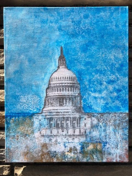 "Art | Capitol Blue | Mixed Media on Gallery Canvas by Fabiano Amin | 20"" x 16""-Mixed Media-Sterling-and-Burke"
