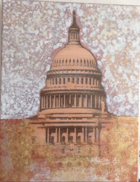 "Art | Capitol Bronze | Acrylic Mixed on Gallery Canvas by Fabiano Amin | 14"" x 11""-Mixed Media-Sterling-and-Burke"