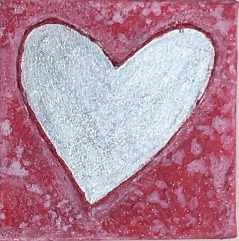 "Art | Silver | Original Acrylic on Gallery Canvas by Fabiano Amin | 6"" x 6""-Acrylic Painting-Sterling-and-Burke"