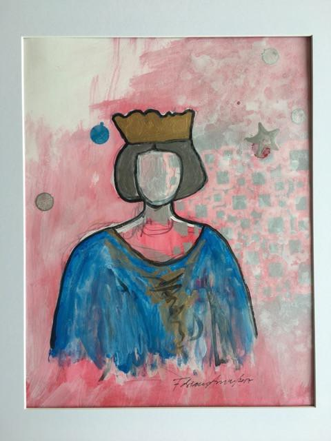 "Art | Summer Queen | Acrylic on Paper by Fabiano Amin | 14"" x 11""-Acrylic on Paper-Sterling-and-Burke"