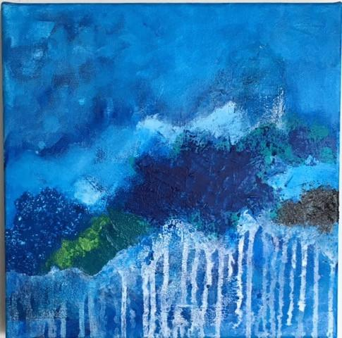 "Art | Tudo Azul | Original Mixed Media on Gallery Canvas | 12"" x 12""-Mixed Media-Sterling-and-Burke"