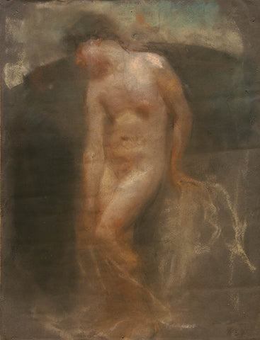 "Antique Pastel on Paper | A Nude by Francesco Paolo Michetti | 19.5"" x 15.75""-Pastel on Paper-Sterling-and-Burke"