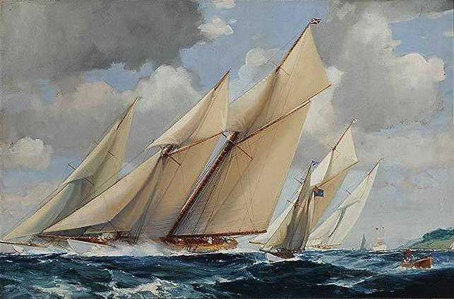 "Antique Watercolor | Sailboats by Frank Henry Algernon Mason | 23"" x 35""-Original Watercolor-Sterling-and-Burke"